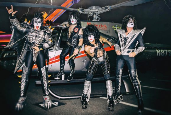 KISS helicopter arrival for residency at The Joint in Las Vegas, NV