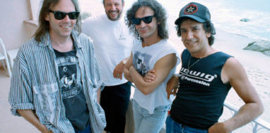 Neil Young, left, is back together with Crazy Horse band members, Frank Sampedro, next to Young, Billy Talbot and Ralph Molina, right, Nov. 5, 1990, in Los Angeles. Young says any bad blood is not forgotten. (AP Photo/Bob Galbraith)